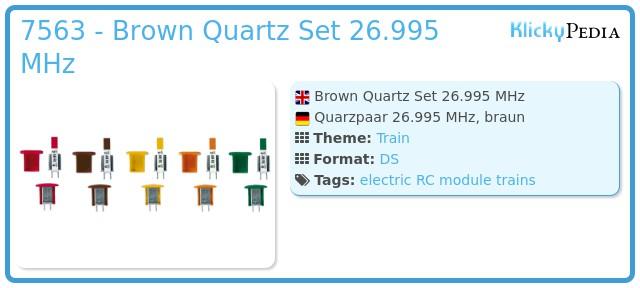 Playmobil 7563 - Brown Quartz Set 26.995 MHz