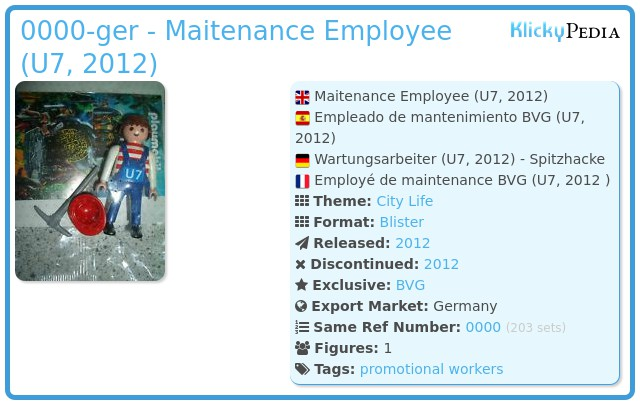 Playmobil 0000-ger - Maitenance Employee (U7, 2012)