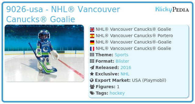 Playmobil 9026-usa - NHL® Vancouver Canucks® Goalie