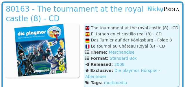 Playmobil 80163 - The tournament at the royal castle (8) - CD