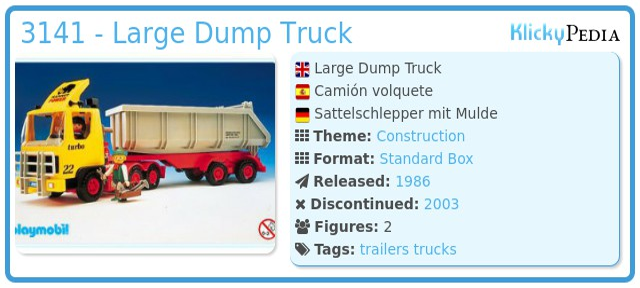 Playmobil 3141 - Large Dump Truck