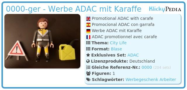 Playmobil 0000-ger - Werbe ADAC mit Karaffe