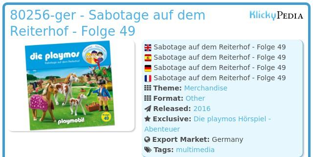 Playmobil 80256-ger - Sabotage auf dem Reiterhof - Folge 49