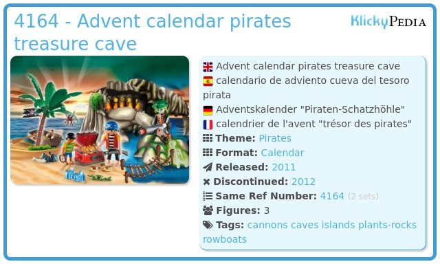 Playmobil 4164 - Advent calendar pirates treasure cave