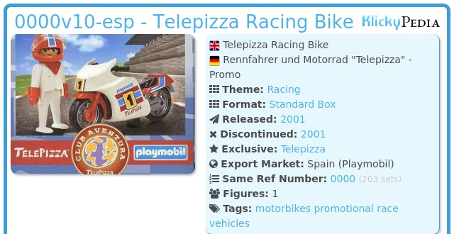Playmobil 0000v10-esp - Telepizza Racing Bike
