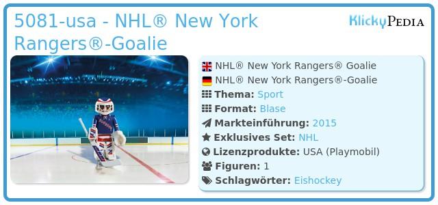 Playmobil 5081-usa - NHL® New York Rangers® Goalie