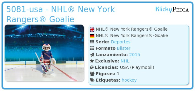 Playmobil 5081-usa - NHL® New York Rangers® Goalie