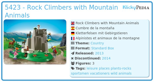 Playmobil 5423 - Rock Climbers with Mountain Animals