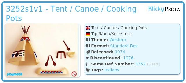 Playmobil 3252s1v1 - Tent / Canoe / Cooking Pots