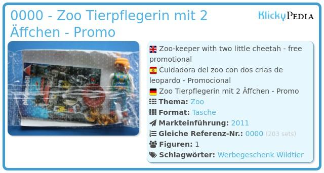 Playmobil 0000 - Zoo Tierpflegerin mit 2 Äffchen - Promo