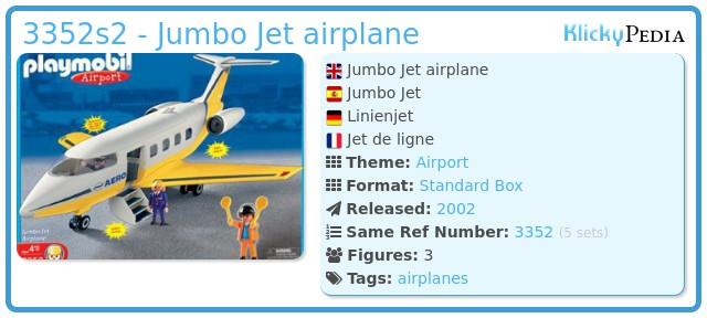 Playmobil 3352s2 - Jumbo Jet airplane
