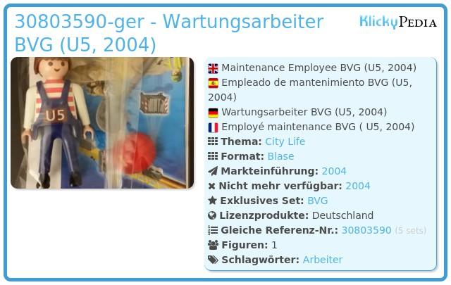 Playmobil 30803590-ger - Wartungsarbeiter BVG (U5, 2004)