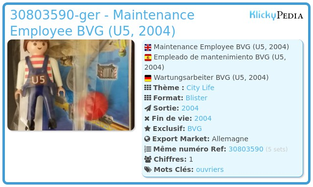 Playmobil 30803590-ger - Maintenance Employee BVG (U5, 2004)