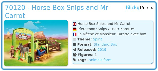 Playmobil 70120 - Horse Box Snips and Mr Carrot