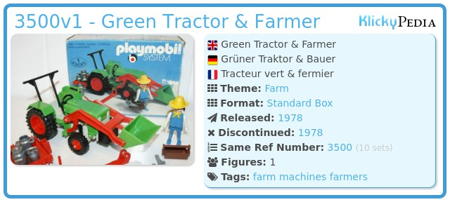 Playmobil 3500v1 - Green Tractor & Farmer