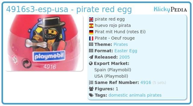 Playmobil 4916s3-esp-usa - pirate red egg