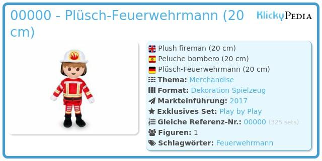 Playmobil 00000 - Plüsch Feuerwehrmann (20cm)