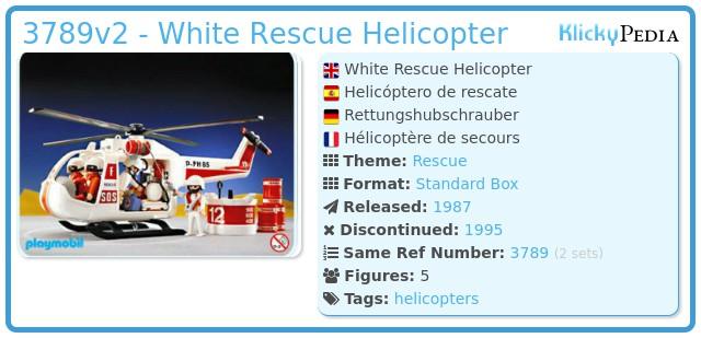 Playmobil 3789v2 - White Rescue Helicopter