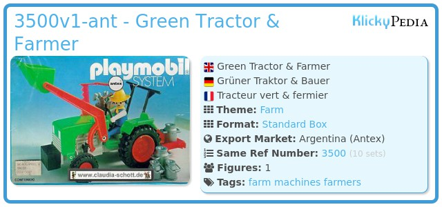 Playmobil 3500v1-ant - Green Tractor & Farmer