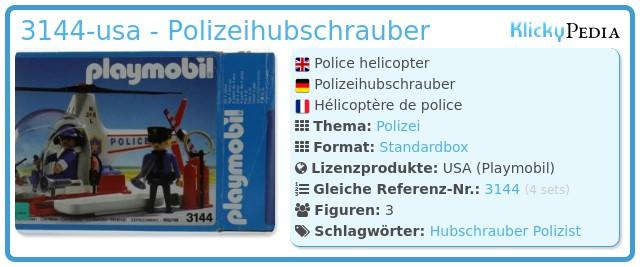Playmobil 3144-usa - Polizeihubschrauber