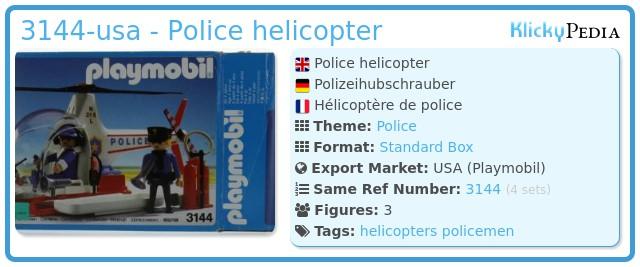 Playmobil 3144-usa - Police helicopter