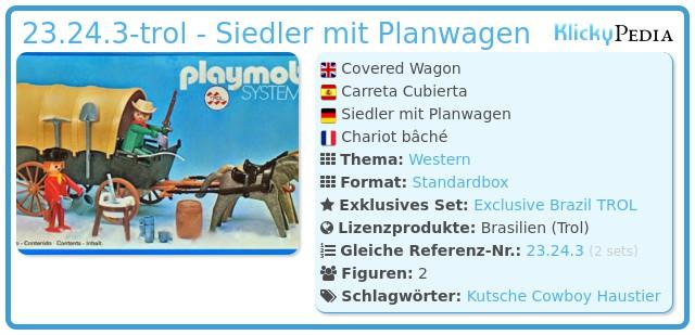 Playmobil 23.24.3-trol - Siedler mit Planwagen