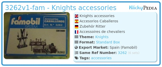 Playmobil 3262v1-fam - Knights accessories