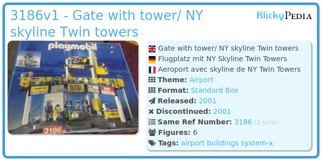 Playmobil 3186v1 - Gate with tower/ NY skyline Twin towers
