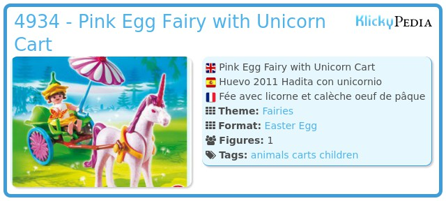Playmobil 4934 - Pink Egg Fairy with Unicorn Cart