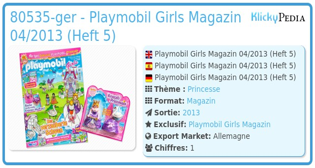 Playmobil 80535-ger - Playmobil Girls Magazin 04/2013 (Heft 5)