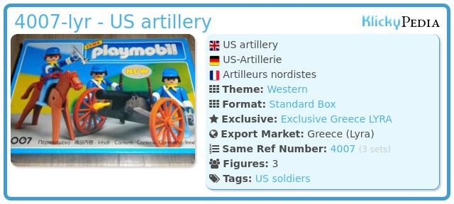 Playmobil 4007-lyr - US artillery