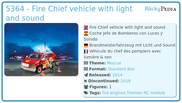 Playmobil 5364 - Fire Chief vehicle with light and sound