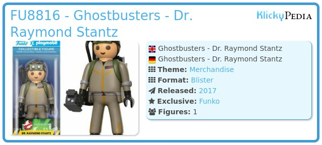 Playmobil FU8816 - Ghostbusters - Dr. Raymond Stantz