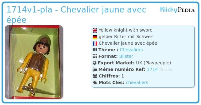 Playmobil 1714v1-pla - Chevalier jaune avec épée