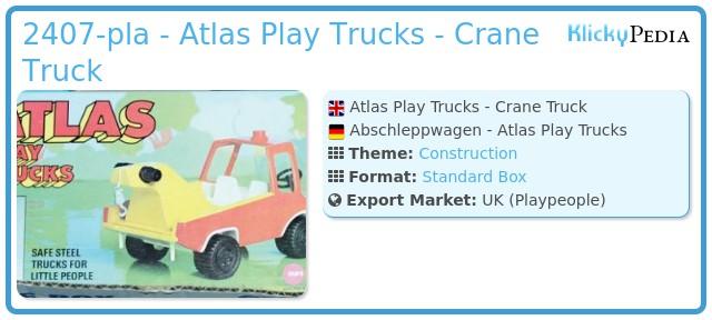 Playmobil 2407-pla - Atlas Play Trucks - Crane Truck
