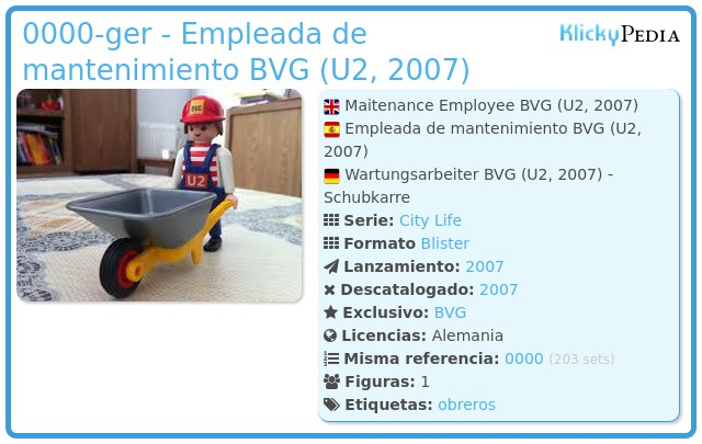 Playmobil 0000-ger - Empleada de mantenimiento BVG (U2, 2007)