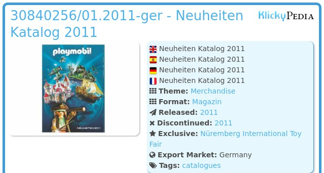 Playmobil 30840256/01.2011-ger - Neuheiten Katalog 2011