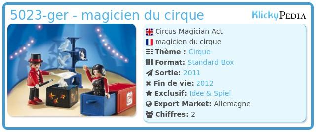 Playmobil 5023-ger - magicien du cirque