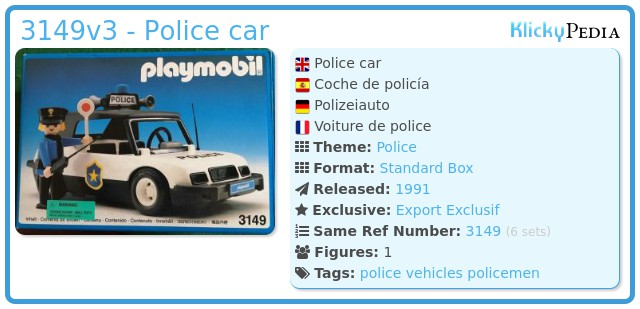 Playmobil 3149v3 - Police car