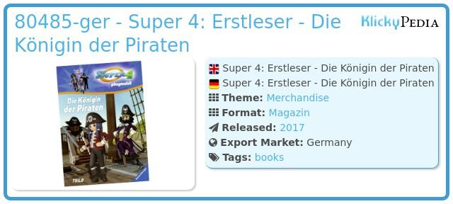 Playmobil 80485-ger - Super 4: Erstleser - Die Königin der Piraten