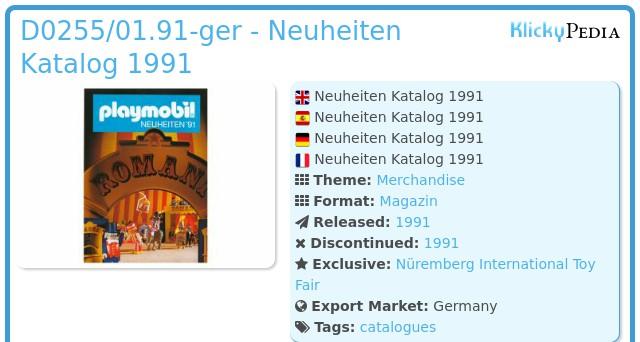 Playmobil D0255/01.90-ger - Neuheiten Katalog 1991