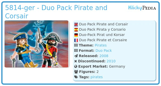 Playmobil 5814-ger - pirate and corsair blister