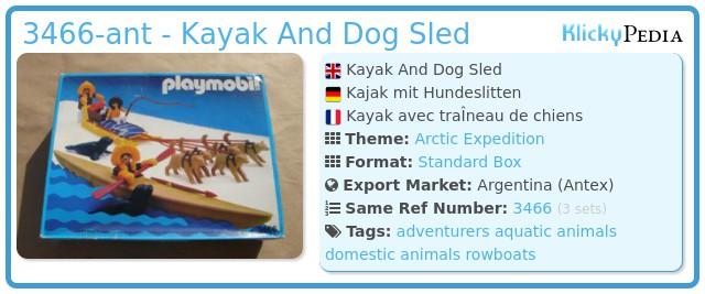 Playmobil 3466-ant - Kayak And Dog Sled