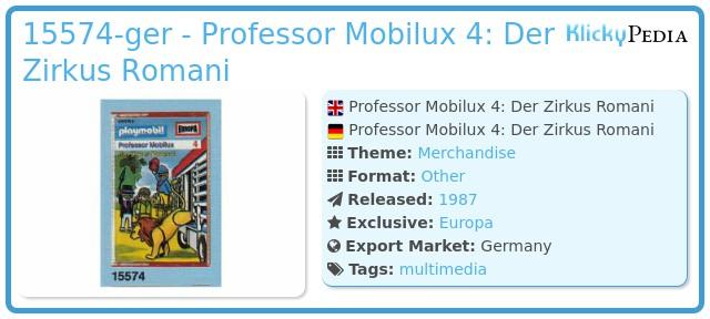 Playmobil 15574-ger - Professor Mobilux 4: Der Zirkus Romani