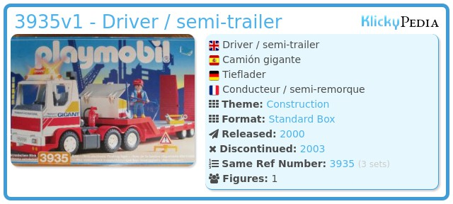 Playmobil 3935v1 - Driver / semi-trailer