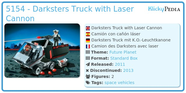 Playmobil 5154 - Darksters Truck with Laser Cannon
