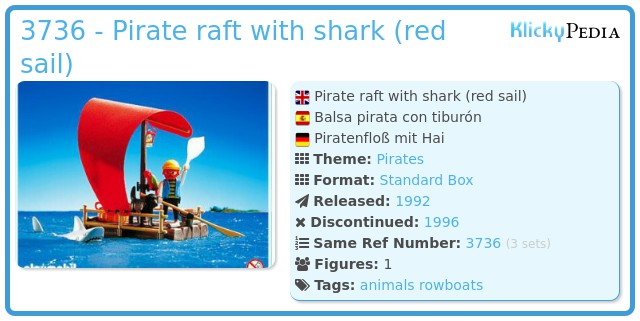 Playmobil 3736 - pirate raft with shark (red sail)