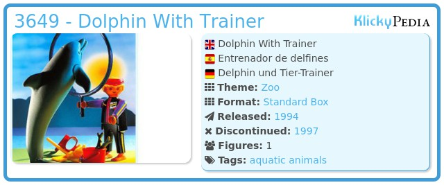 Playmobil 3649 - Dolphin With Trainer