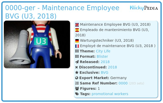 Playmobil 0000-ger - Maintenance Employee BVG (U3, 2018)