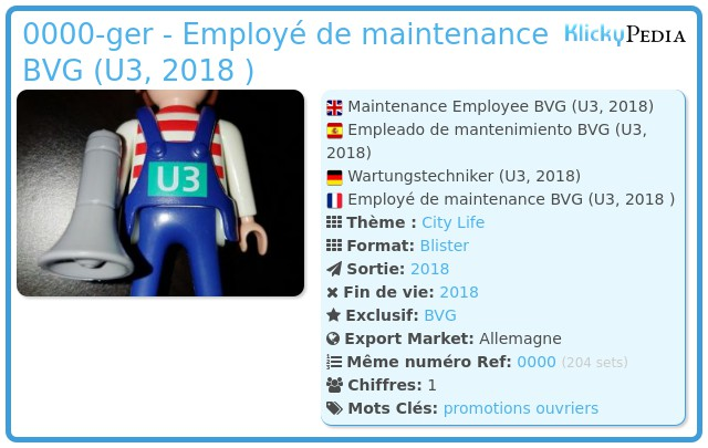 Playmobil 0000-ger - Employé de maintenance BVG (U3, 2018 )